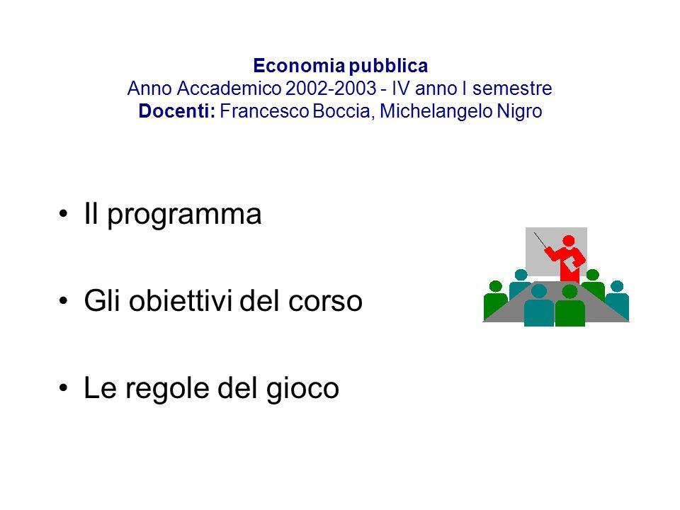 Economia pubblica Anno Accademico 2002-2003 - IV anno I semestre Docenti: Francesco Boccia, Michelangelo Nigro Il programma Gli obiettivi del corso Le regole del gioco
