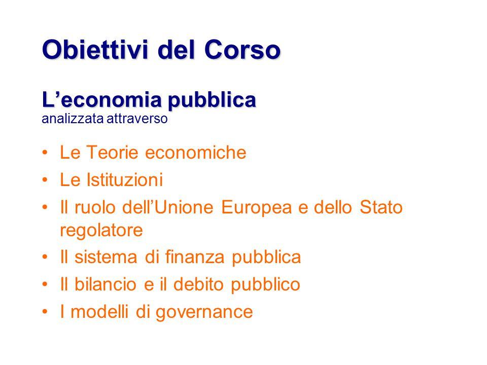 Obiettivi del Corso L'economia pubblica Obiettivi del Corso L'economia pubblica analizzata attraverso Le Teorie economiche Le Istituzioni Il ruolo dell'Unione Europea e dello Stato regolatore Il sistema di finanza pubblica Il bilancio e il debito pubblico I modelli di governance