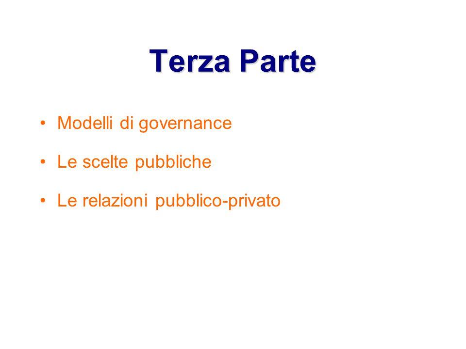 Terza Parte Modelli di governance Le scelte pubbliche Le relazioni pubblico-privato