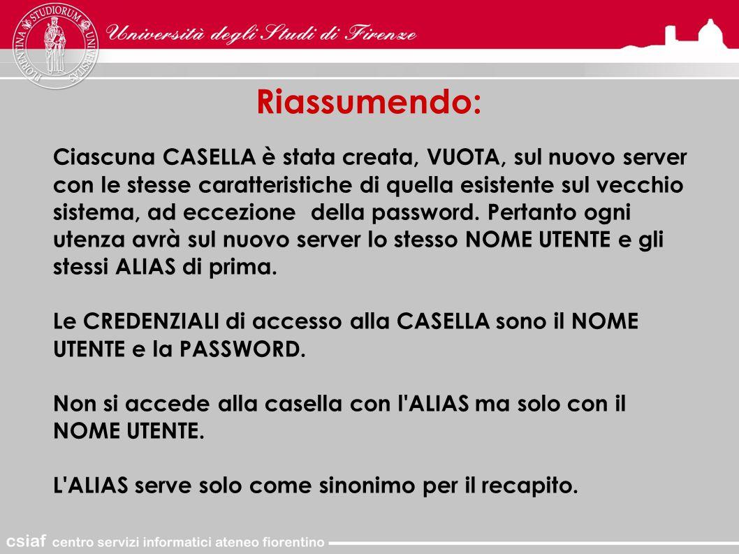 Riassumendo: Ciascuna CASELLA è stata creata, VUOTA, sul nuovo server con le stesse caratteristiche di quella esistente sul vecchio sistema, ad eccezione della password.