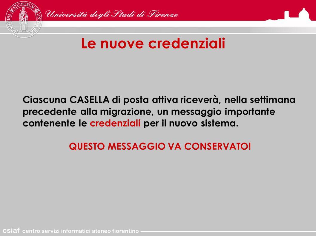 Le nuove credenziali Ciascuna CASELLA di posta attiva riceverà, nella settimana precedente alla migrazione, un messaggio importante contenente le credenziali per il nuovo sistema.