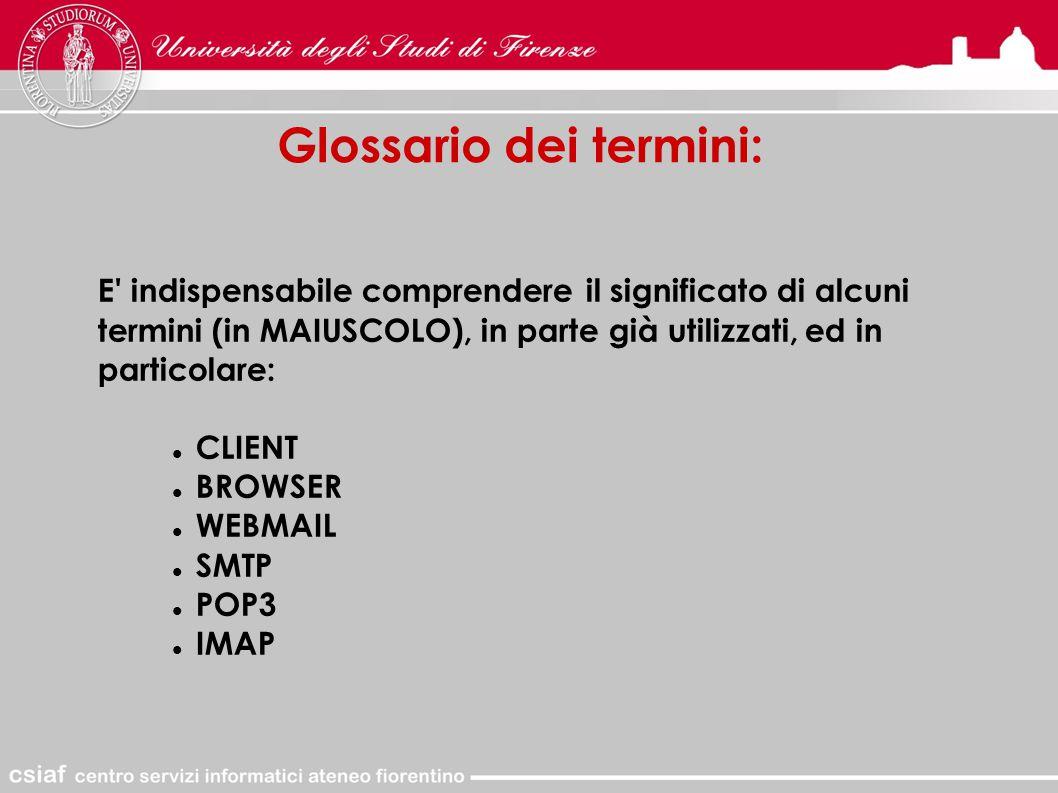 Glossario dei termini: E indispensabile comprendere il significato di alcuni termini (in MAIUSCOLO), in parte già utilizzati, ed in particolare: CLIENT BROWSER WEBMAIL SMTP POP3 IMAP