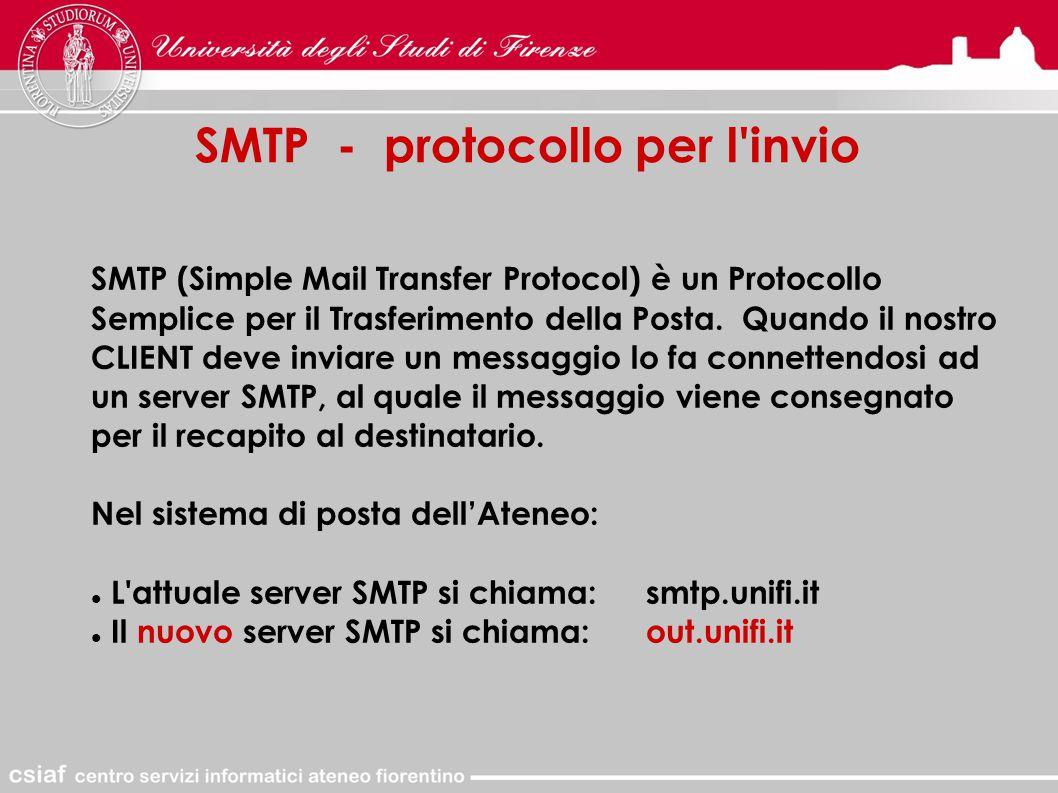 SMTP - protocollo per l invio SMTP (Simple Mail Transfer Protocol) è un Protocollo Semplice per il Trasferimento della Posta.