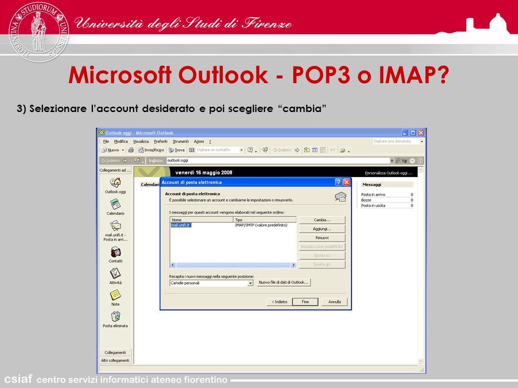 Microsoft Outlook - POP3 o IMAP 3) Selezionare l'account desiderato e poi scegliere cambia