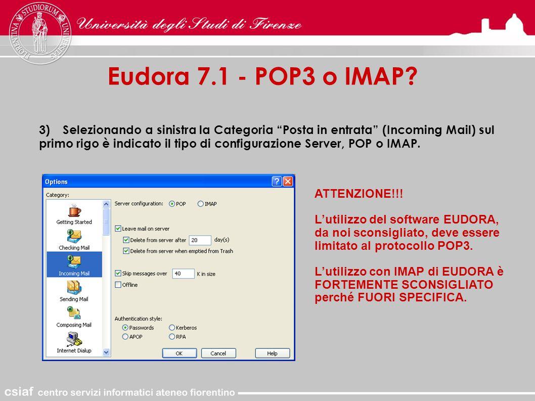 Eudora 7.1 - POP3 o IMAP.