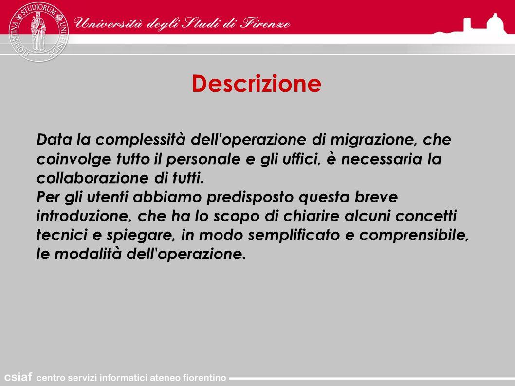 Descrizione Data la complessità dell operazione di migrazione, che coinvolge tutto il personale e gli uffici, è necessaria la collaborazione di tutti.