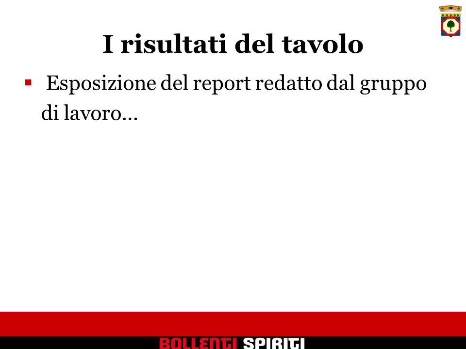 I risultati del tavolo  Esposizione del report redatto dal gruppo di lavoro…