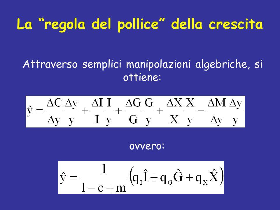 """La """"regola del pollice"""" della crescita Attraverso semplici manipolazioni algebriche, si ottiene: ovvero:"""
