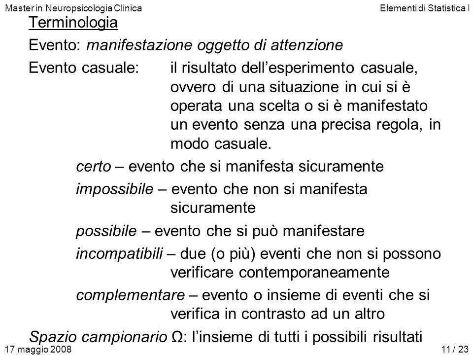 Master in Neuropsicologia ClinicaElementi di Statistica I 17 maggio 200811 / 23 Terminologia Evento: manifestazione oggetto di attenzione Evento casua
