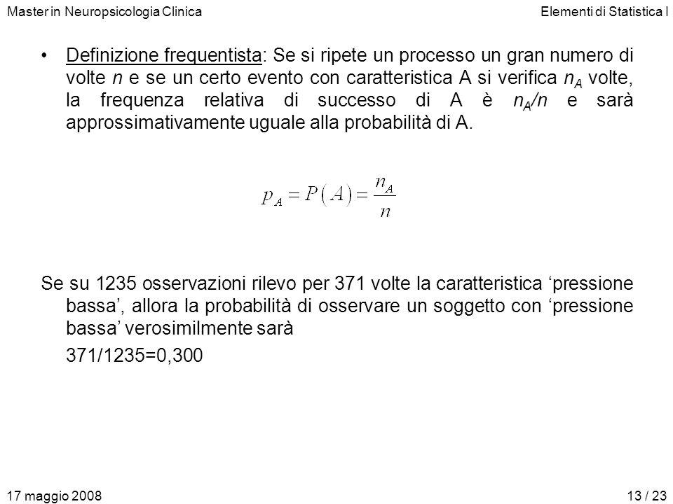 Master in Neuropsicologia ClinicaElementi di Statistica I 17 maggio 200813 / 23 Definizione frequentista: Se si ripete un processo un gran numero di v