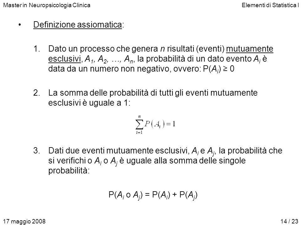 Master in Neuropsicologia ClinicaElementi di Statistica I 17 maggio 200814 / 23 Definizione assiomatica: 1.Dato un processo che genera n risultati (ev