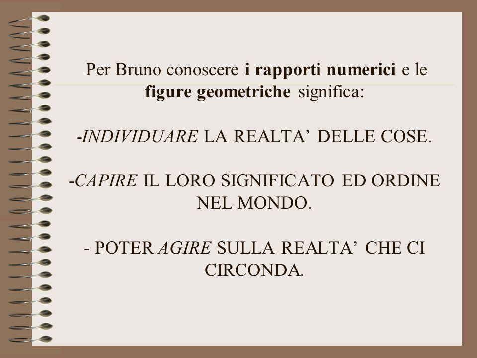 Per Bruno conoscere i rapporti numerici e le figure geometriche significa: -INDIVIDUARE LA REALTA' DELLE COSE. -CAPIRE IL LORO SIGNIFICATO ED ORDINE N