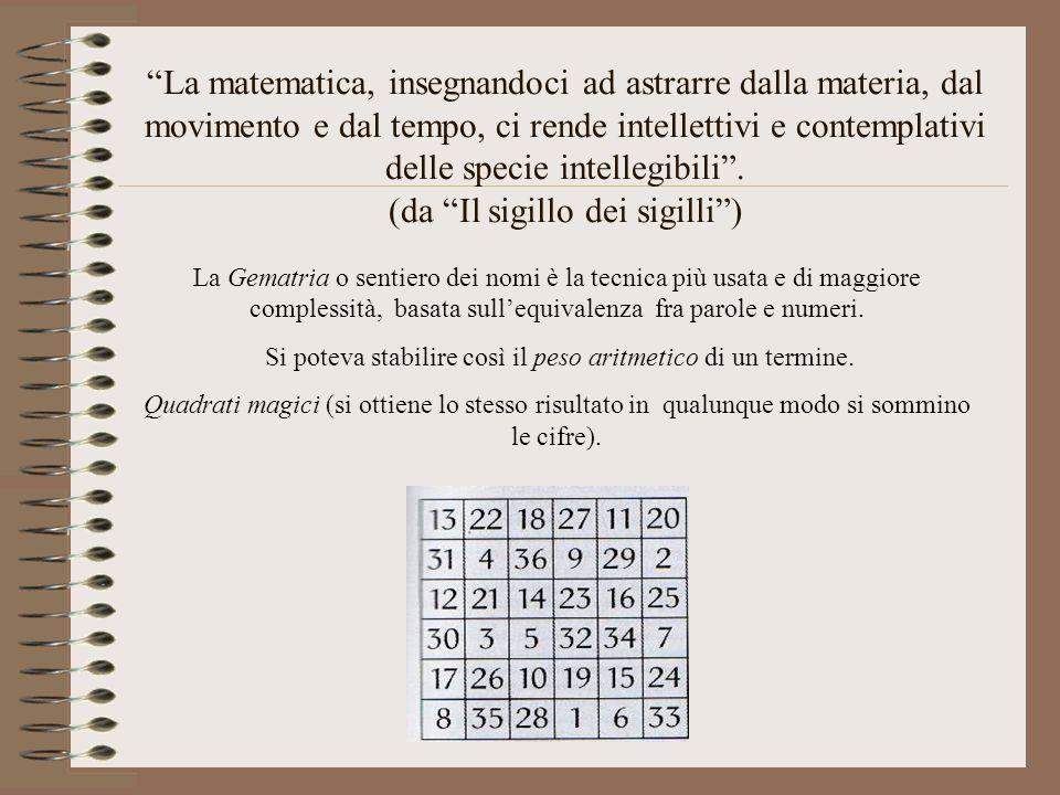 """""""La matematica, insegnandoci ad astrarre dalla materia, dal movimento e dal tempo, ci rende intellettivi e contemplativi delle specie intellegibili""""."""