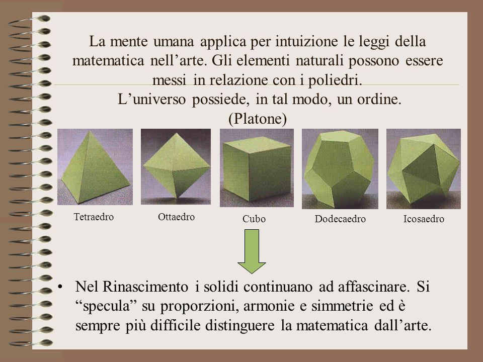 La mente umana applica per intuizione le leggi della matematica nell'arte. Gli elementi naturali possono essere messi in relazione con i poliedri. L'u