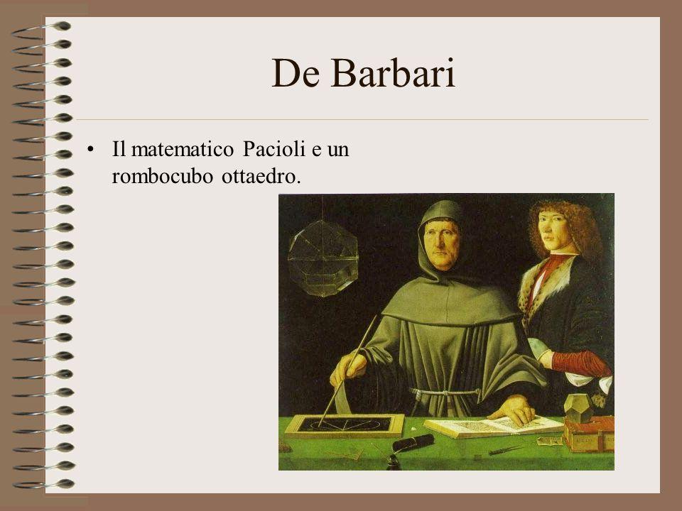 De Barbari Il matematico Pacioli e un rombocubo ottaedro.