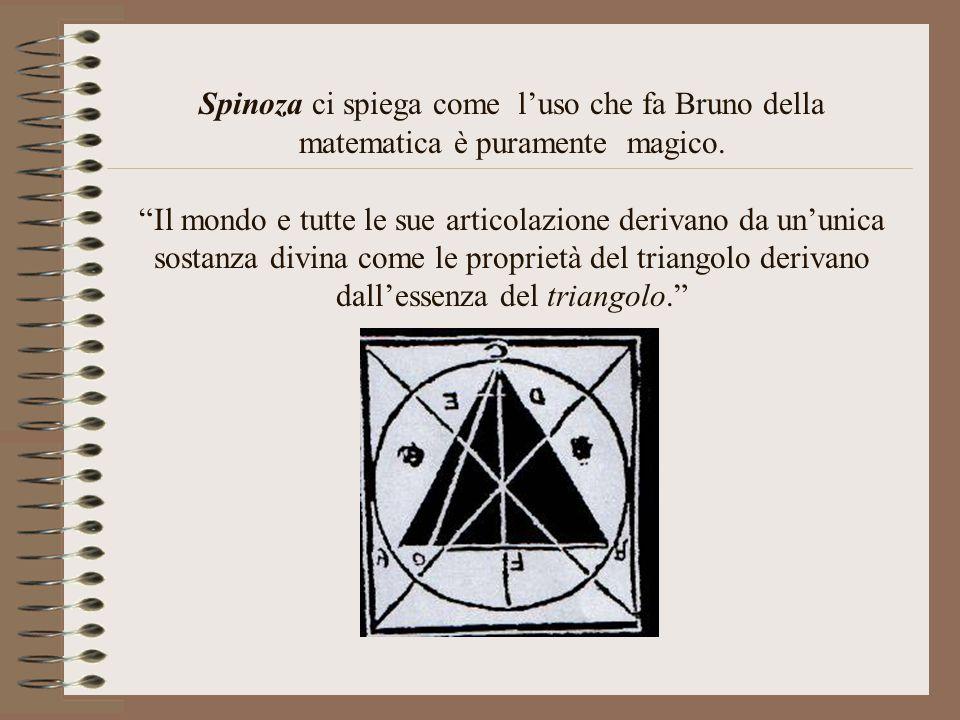 """Spinoza ci spiega come l'uso che fa Bruno della matematica è puramente magico. """"Il mondo e tutte le sue articolazione derivano da un'unica sostanza di"""