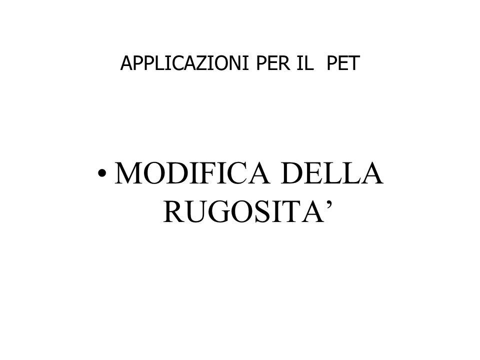 APPLICAZIONI PER IL PET MODIFICA DELLA RUGOSITA'
