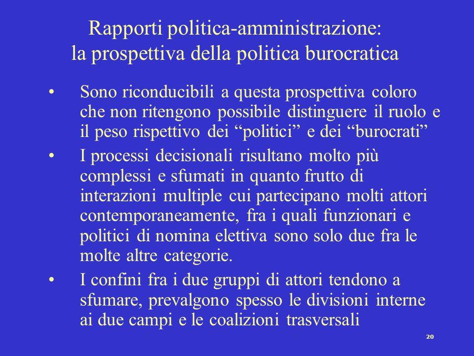 19 Rapporti politica-amministrazione: la prospettiva dualista 3.L'effetto dell'assetto istituzionale complessivo e del sistema dei partiti a)Stato fed