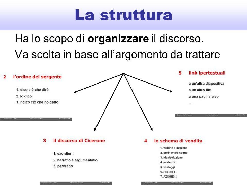 La struttura Ha lo scopo di organizzare il discorso. Va scelta in base all'argomento da trattare