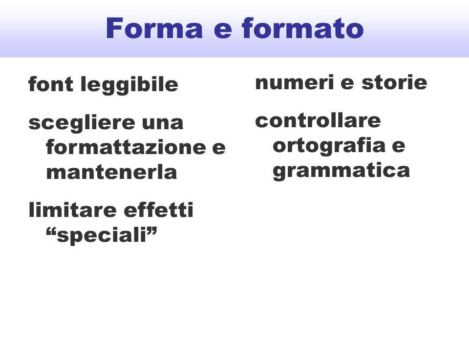 numeri e storie controllare ortografia e grammatica Forma e formato font leggibile scegliere una formattazione e mantenerla limitare effetti speciali