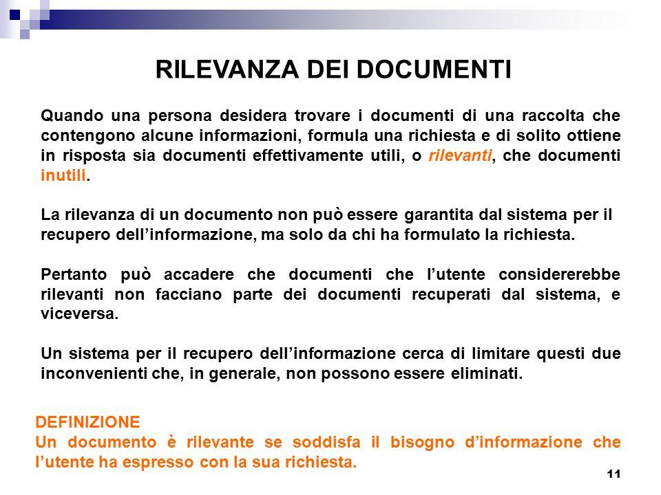 11 RILEVANZA DEI DOCUMENTI Quando una persona desidera trovare i documenti di una raccolta che contengono alcune informazioni, formula una richiesta e di solito ottiene in risposta sia documenti effettivamente utili, o rilevanti, che documenti inutili.