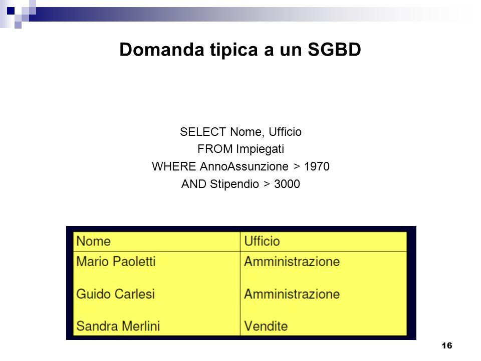 16 Domanda tipica a un SGBD SELECT Nome, Ufficio FROM Impiegati WHERE AnnoAssunzione > 1970 AND Stipendio > 3000