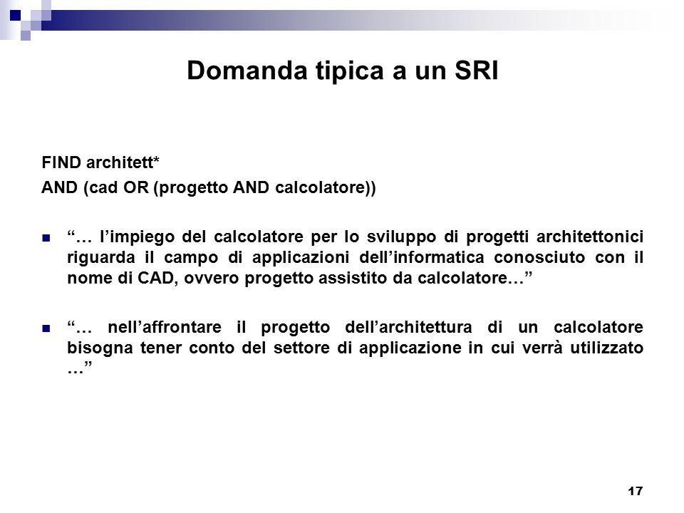 """17 Domanda tipica a un SRI FIND architett* AND (cad OR (progetto AND calcolatore)) """"… l'impiego del calcolatore per lo sviluppo di progetti architetto"""