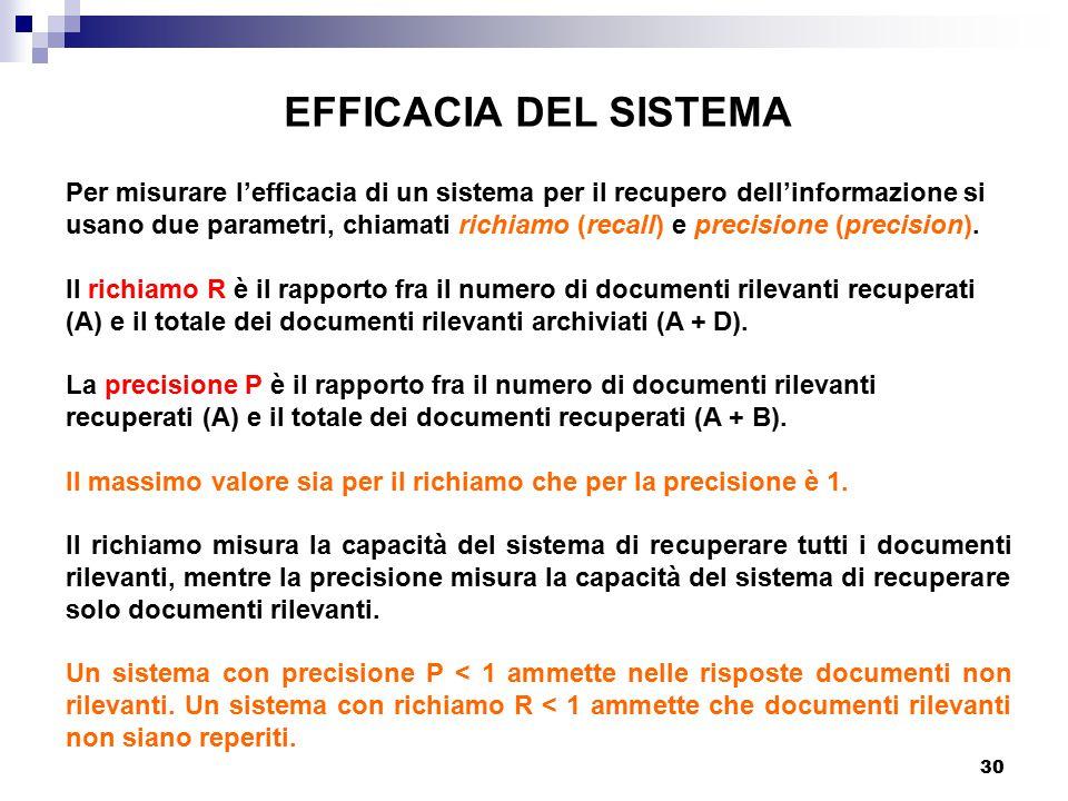 30 EFFICACIA DEL SISTEMA Per misurare l'efficacia di un sistema per il recupero dell'informazione si usano due parametri, chiamati richiamo (recall) e precisione (precision).
