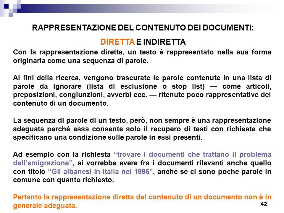 42 RAPPRESENTAZIONE DEL CONTENUTO DEI DOCUMENTI: DIRETTA E INDIRETTA Con la rappresentazione diretta, un testo è rappresentato nella sua forma origina