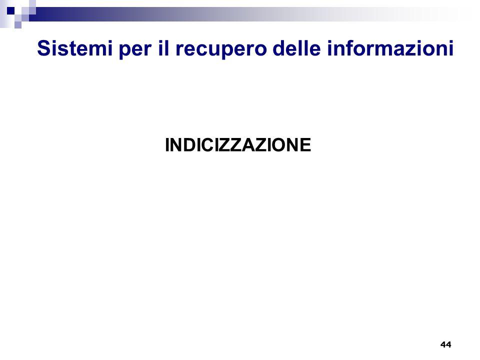 44 Sistemi per il recupero delle informazioni INDICIZZAZIONE