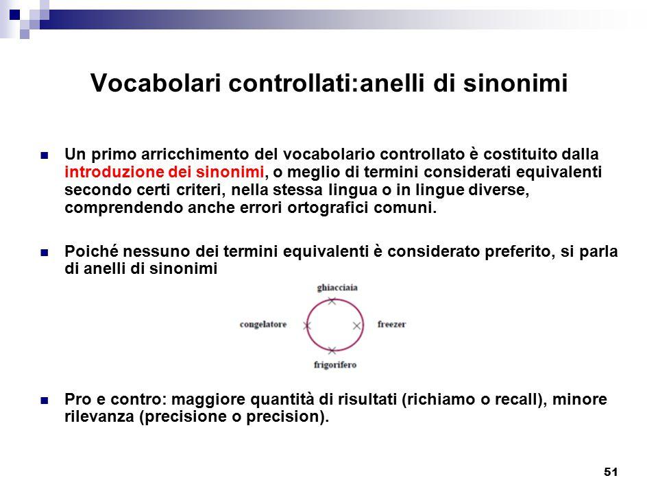 51 Vocabolari controllati:anelli di sinonimi Un primo arricchimento del vocabolario controllato è costituito dalla introduzione dei sinonimi, o meglio