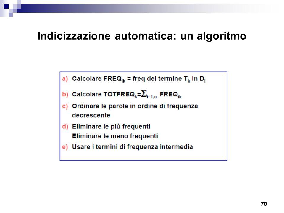 78 Indicizzazione automatica: un algoritmo