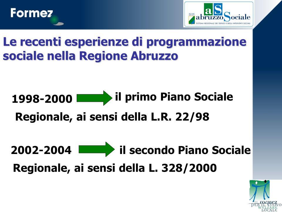 il primo Piano Sociale 2002-2004 1998-2000 Regionale, ai sensi della L.R.