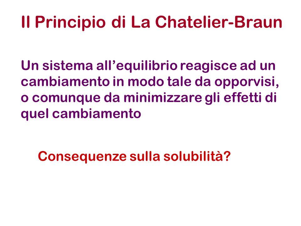 Il Principio di La Chatelier-Braun Un sistema all'equilibrio reagisce ad un cambiamento in modo tale da opporvisi, o comunque da minimizzare gli effetti di quel cambiamento Consequenze sulla solubilità?