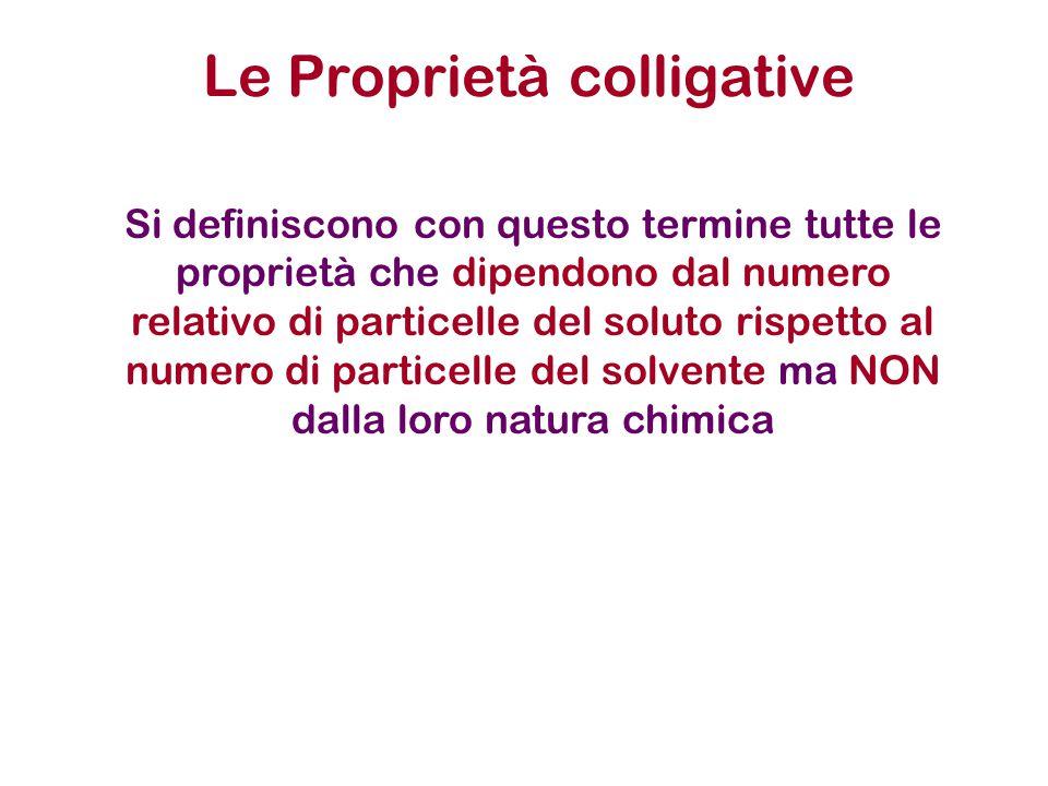 Le Proprietà colligative Si definiscono con questo termine tutte le proprietà che dipendono dal numero relativo di particelle del soluto rispetto al numero di particelle del solvente ma NON dalla loro natura chimica