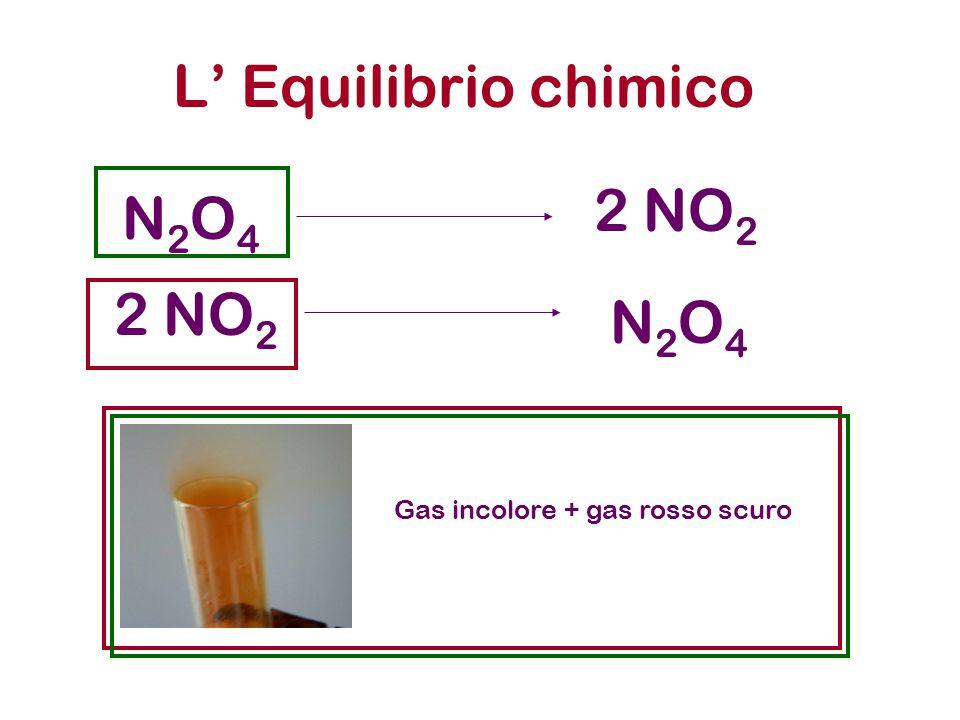 L' Equilibrio chimico N2O4N2O4 2 NO 2 N2O4N2O4 Gas incolore + gas rosso scuro