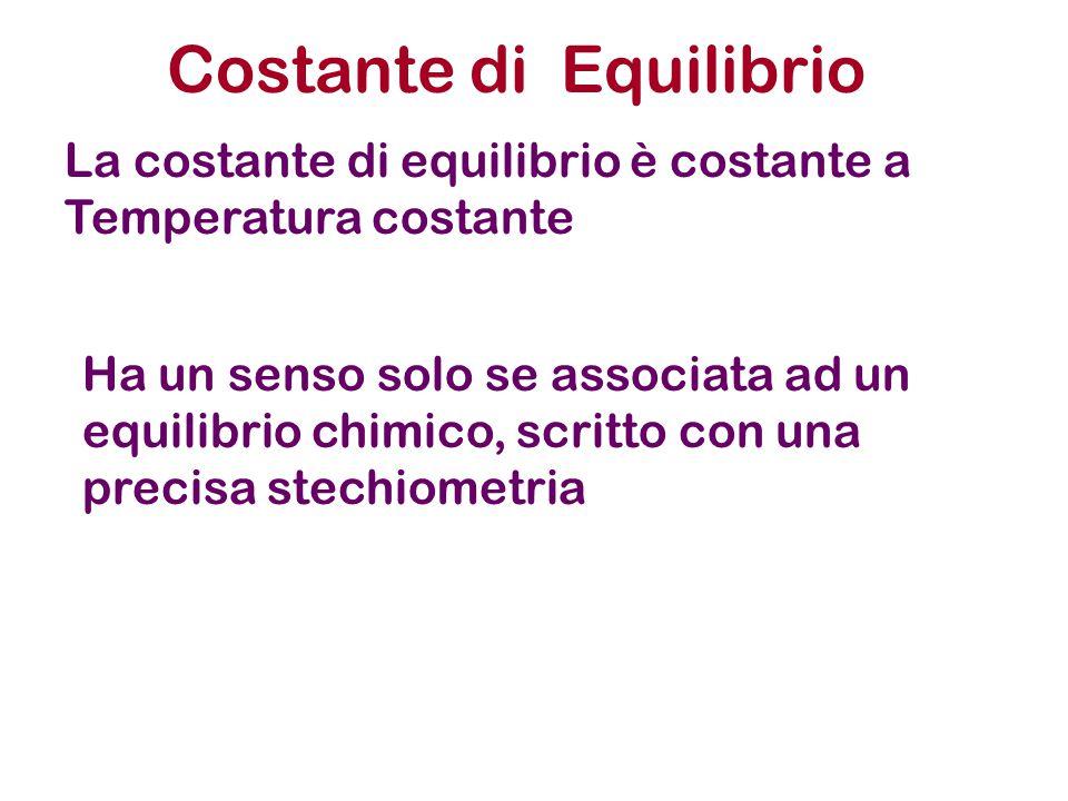 Costante di Equilibrio La costante di equilibrio è costante a Temperatura costante Ha un senso solo se associata ad un equilibrio chimico, scritto con una precisa stechiometria