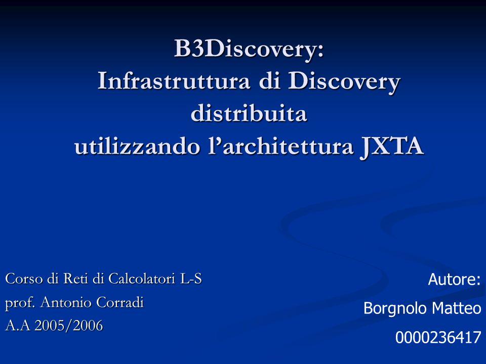 B3Discovery: Infrastruttura di Discovery distribuita utilizzando l'architettura JXTA Corso di Reti di Calcolatori L-S prof. Antonio Corradi A.A 2005/2