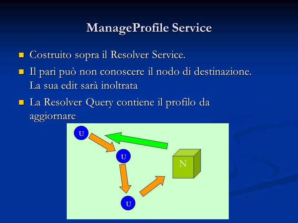 ManageProfile Service Costruito sopra il Resolver Service.