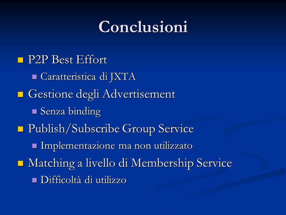 Conclusioni P2P Best Effort P2P Best Effort Caratteristica di JXTA Caratteristica di JXTA Gestione degli Advertisement Gestione degli Advertisement Senza binding Senza binding Publish/Subscribe Group Service Publish/Subscribe Group Service Implementazione ma non utilizzato Implementazione ma non utilizzato Matching a livello di Membership Service Matching a livello di Membership Service Difficoltà di utilizzo Difficoltà di utilizzo