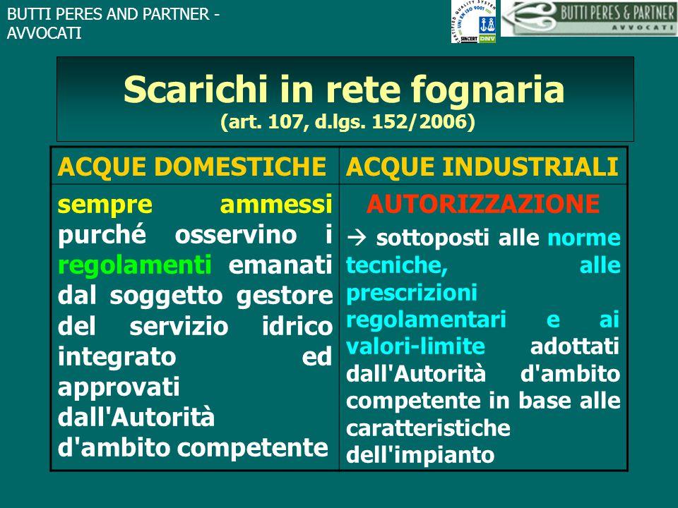 BUTTI PERES AND PARTNER - AVVOCATI Scarichi in rete fognaria (art. 107, d.lgs. 152/2006) ACQUE DOMESTICHEACQUE INDUSTRIALI sempre ammessi purché osser