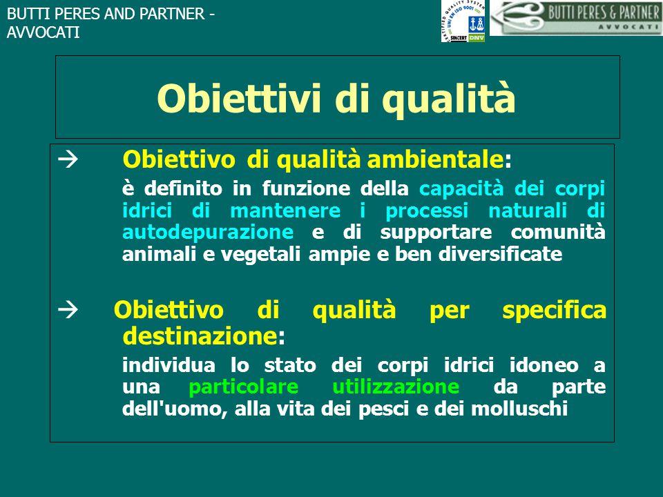 BUTTI PERES AND PARTNER - AVVOCATI Obiettivi di qualità  Obiettivo di qualità ambientale: è definito in funzione della capacità dei corpi idrici di m