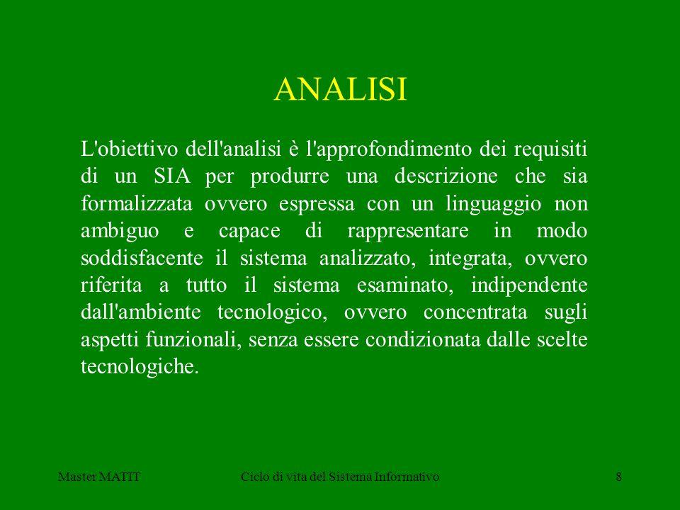 Master MATITCiclo di vita del Sistema Informativo8 L'obiettivo dell'analisi è l'approfondimento dei requisiti di un SIA per produrre una descrizione c