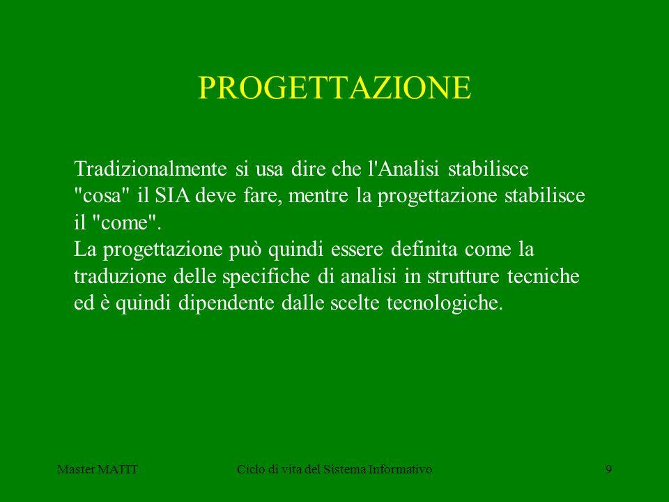 Master MATITCiclo di vita del Sistema Informativo9 Tradizionalmente si usa dire che l Analisi stabilisce cosa il SIA deve fare, mentre la progettazione stabilisce il come .