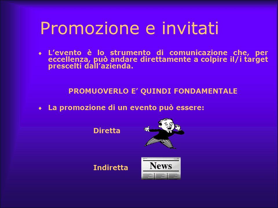 Promozione e invitati  L'evento è lo strumento di comunicazione che, per eccellenza, può andare direttamente a colpire il/i target prescelti dall'azi