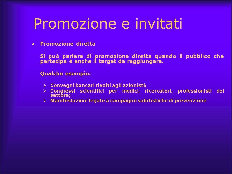 Promozione e invitati  Promozione diretta Si può parlare di promozione diretta quando il pubblico che partecipa è anche il target da raggiungere. Qua