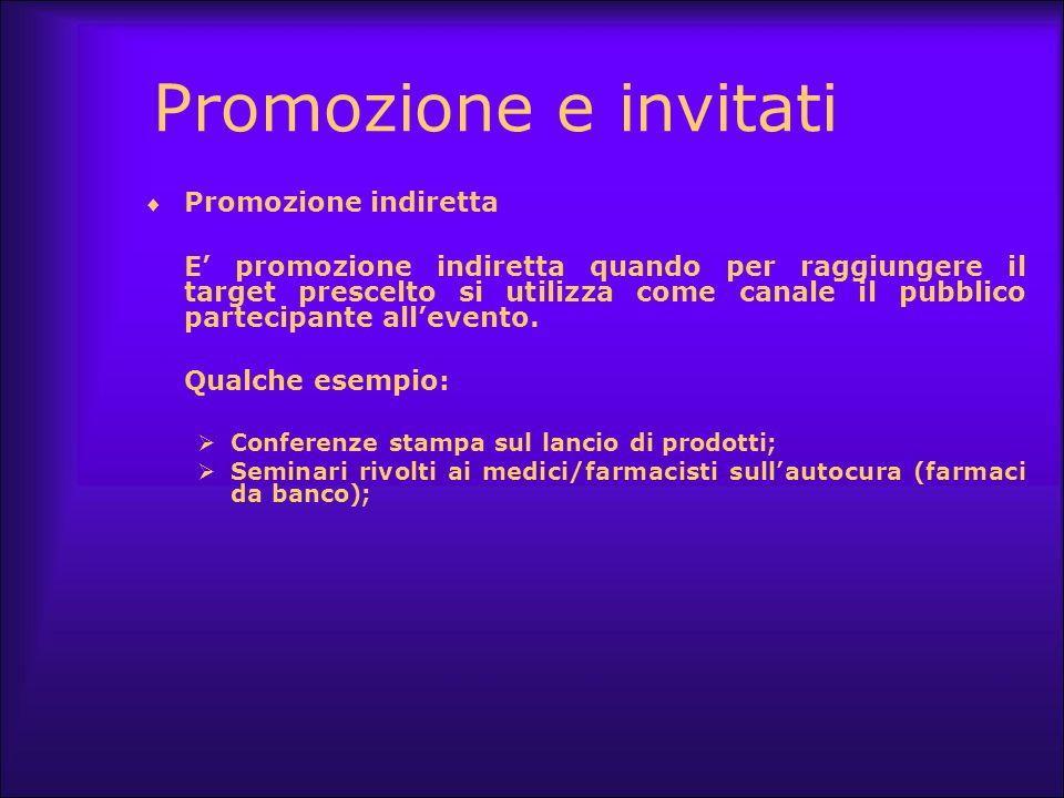 Promozione e invitati  Promozione indiretta E' promozione indiretta quando per raggiungere il target prescelto si utilizza come canale il pubblico pa