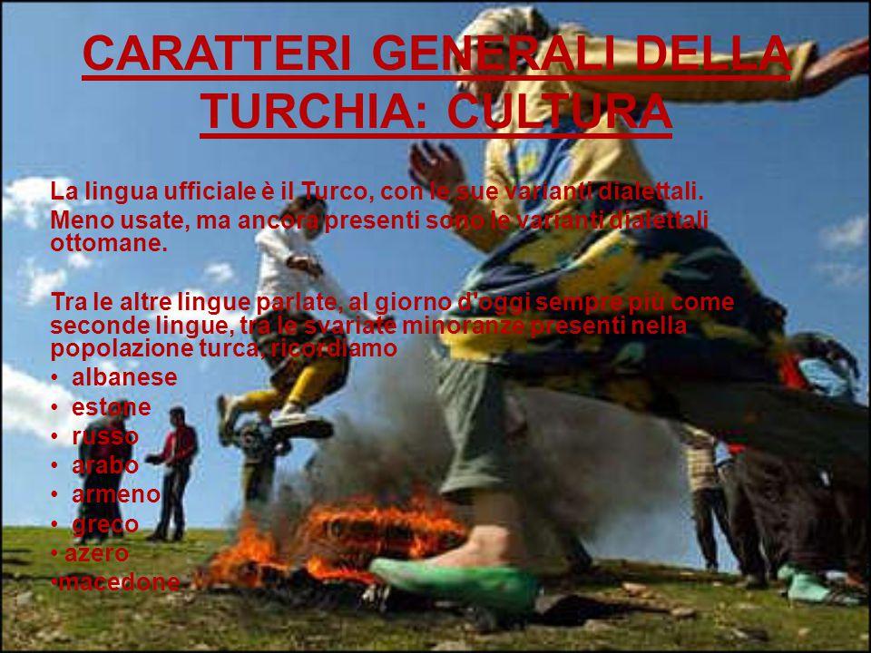 CARATTERI GENERALI DELLA TURCHIA: CULTURA La lingua ufficiale è il Turco, con le sue varianti dialettali.