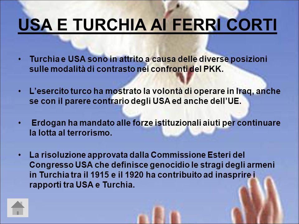 USA E TURCHIA AI FERRI CORTI Turchia e USA sono in attrito a causa delle diverse posizioni sulle modalità di contrasto nei confronti del PKK.