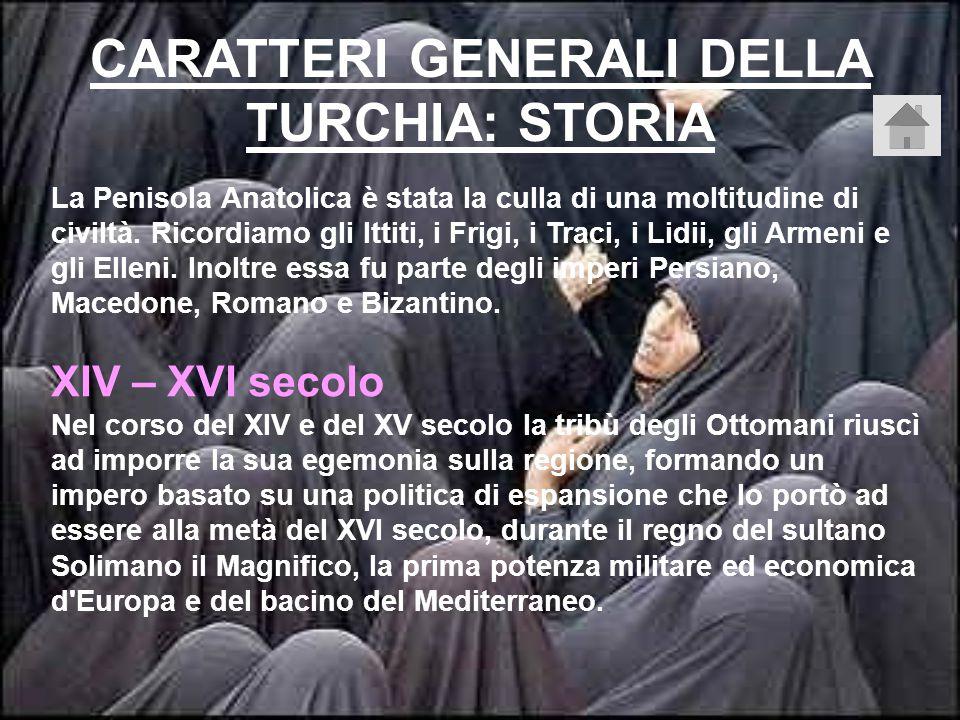CARATTERI GENERALI DELLA TURCHIA: STORIA La Penisola Anatolica è stata la culla di una moltitudine di civiltà.